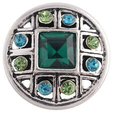 Silver Charm for Snap Jewelry Kc8699 Cc3711 1 Pc - 18Mm Green Blue Rhinestones