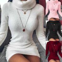 Sexy Women's Long Sleeve Knitted Sweater Jumper Turtleneck Bodycon Mini Dress US