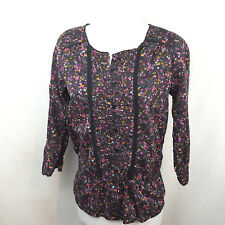 H&M Womens Girls Top Size 14 Black Floral Blouse