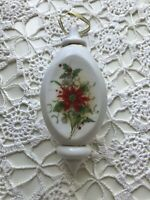 Vintage Porcelain  Floral Holly Christmas Ornament White Unbranded Mid Century