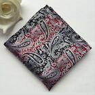 F102 red black stripe paisley silk man handkerchief wedding party pocket square