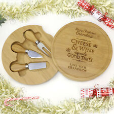 Christmas Engraved Round Cheese Board with Utensils. Personalised Xmas Gift