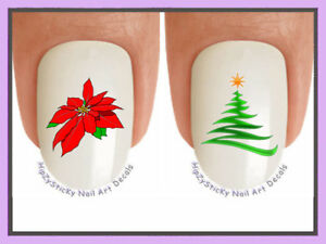 Nail Art X807 CHRISTMAS Pointsettia Spiral Tree WaterSlide Nail Decals Transfers