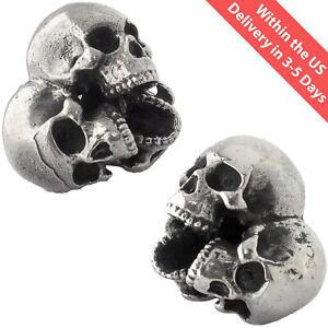 Biker jewelry Human skull bead Anatomical skull Skull spacer Beads for hair Skull head Beads lanyard for knife Silver Momento Mori