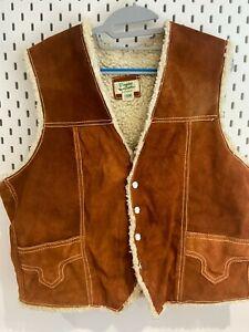 Vintage Mens Gilet Large Leather Lightly Distressed Deep Tan