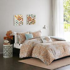 Full/Queen Rustic Orange 5-Piece Comforter Set Paisley Modern Design Bedding