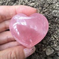 Rose Quartz Heart Shaped Pink Crystal Carved Palm Love Healing Gemstone Dw
