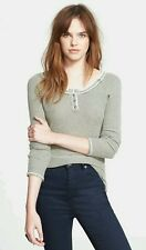 NEW FREE PEOPLE Rag Tag Henley light Army Grey Sweater Top Size XS NWT RARE $98