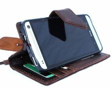 genuine vintage leather case for HTC One M7 book wallet cover magnet brown thin
