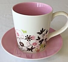 Starbucks Mug Cup and Saucer Set Pink Pearl Poppies Floral Butterfly 2006 11 oz