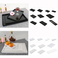 Melamine European Style Tea Serving Tray Hotel Guest Room Dishes Black / White