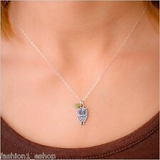 New Vintage Cute Beautiful Small OWL Pendant Side Stone Chain Necklace for Women