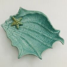 Blue Sky Clayworks Ceramic Shell Seashell Figural Dish Aqua Blue New