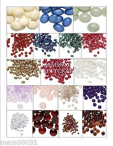 Cabochon Flat Back Beads ~ ACRYLIC SOLID COLORS ~ Various Sizes & Shapes