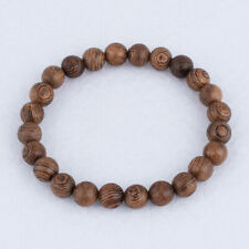 8mm Natural Wood Round Loose Beaded Stretch Bracelets Fashion Jewelry Gift 0370#