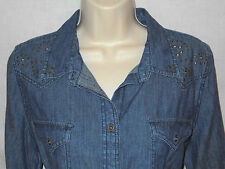 Western Denim Blouse Nine West Vintage American MED 12 Women Shirt Blue Top 6m78