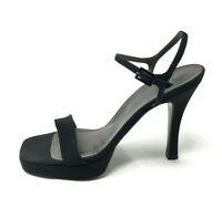 Vera Wang x Stuart Weiztman 8 Heels Black Open Toe Strappy Pumps 90s Style