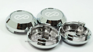 4pcs 64mm Enkei Wheel Center Caps Rim Caps Hub Caps Emblems Decals Silver Chrome