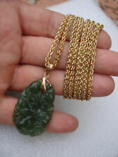 "VINTAGE GREEN JADE ENGRAVED PENDANT 14k GOLD DOUBLE WHEAT CHAIN NECKLACE 40"" SET"