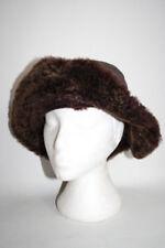 Womens Brown Winter Natural Fur Leather HAT Russian Cap Ladies Ski Hat M/L