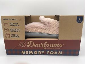 Dearfoams Women's Clog Slip-on Pink Knit Slippers Size L (9-10)