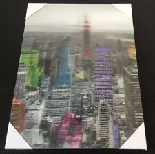 3D NEW YORK CITY GLASS SKYLINE ART READY TO HANG WOODEN FRAMED 30x40 CANVAS NY