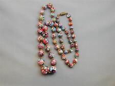 "Vintage Venetian Millefiori Bead Necklace 29.5"" Round Beads FAB Graduated"