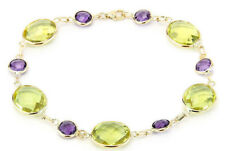 14K Yellow Gold Bracelet With Amethyst and Lemon Topaz Gemstones 8.5 Inches