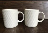 "Oneida Wicker White Basketweave Coffee Mugs Set Of 2 - 3.75"" Stoneware"