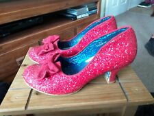 Señoras irregular choice irónico Red Glitter zapatos talla 6 (39)