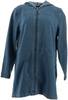 Denim & Co Petite Comfy Knit Denim Zip Front Jacket Antique Wash PL NEW A349711