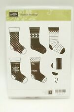 Stampin' Up! Stitched Stockings Mounted Unused Rubber Stamp Set of 7 Christmas