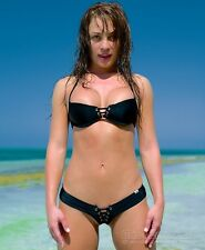 Wicked Weasel Black Matt Lycra Link 325 Lace up Top LARGE RARE RARE RARE