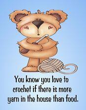METAL FRIDGE MAGNET Love Crochet Have More Yarn Than Food Family Friend Humor