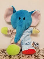 "Beverly Hills Teddy Bear Co Blue Elephant Rattle Plush Stuffed Baby Toy 10"" VHTF"