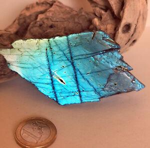 Labradorit Anschliff, Edelstein - Kugel - 104 * 70 mm - Spektrolith - roh Stein