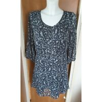 Marks and Spencer M&S Indigo Collection Blue Floral Print Tunic Dress Size 14
