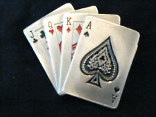 ROYAL FLUSH buckle  LICENCED Cards gambling casino belts PEWTER