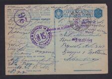 ITALY 1943 CENSORED MILITARY POSTAL STATIONERY CARD USED