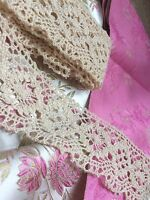 Antique Cotton Lace Flounce Trim Sewing Edging Costume Remnant 2 Yards Yardage