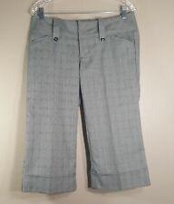 Spacegirly Juniors Size 7 Gray Pin Striped Low Rise Cropped Capri Cuffed Pants
