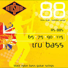 Rotosound RS88S Black Nylon Flatwound Bass Guitar Strings 65-115 + Picks