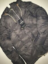 Abercrombie & Fitch Down Gray Puffer Full Zip Button Coat Jacket M NWT