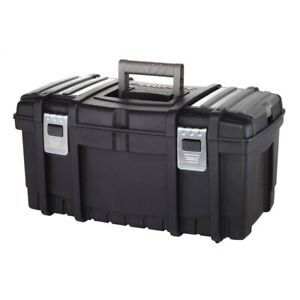 Husky 22 in. Tool Box with New Metal Latches Removable Storage Plastic Material