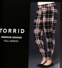 TORRID SEXY (2X 18-20) Premium Legging Plaid Checkers Brown Multi Tummy Smoother
