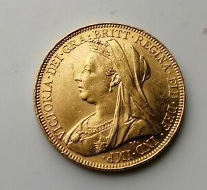 1901 Full Gold Sovereign Victoria Veiled Head Melbourne Mint