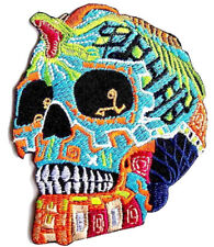 "Sugar Skull Tribal Snake Mask Dia De Los Muertos Iron On Patch 4""x3"""