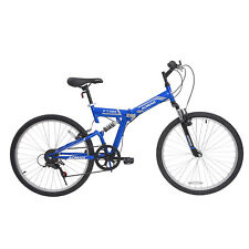 "26"" Folding Mountain Bicycle Foldable Hybrid Bike 7 Speed Full Suspension Blue"