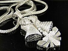 NEW MENS WHITE GOLD FINISH WHITE SIMULATED DIAMONDS PRAYING HAND CHARM CHAIN SET