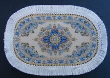 1:12 Scale Oval Blue Woven Turkish Rug Tumdee Dolls House Carpet Accessory 648B